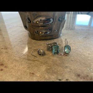 Beautiful aquamarine ring and earrings set